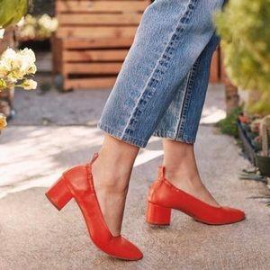 Everlane Bright Red Italian Calfskin Leather Heels